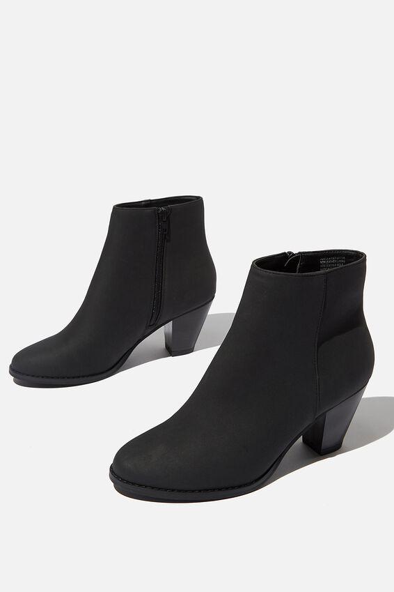 Isabelle Heeled Ankle Boot, BLACK NUBUCK PU