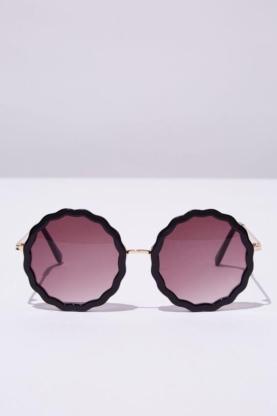 Polly Oval Sunglasses, BLACK