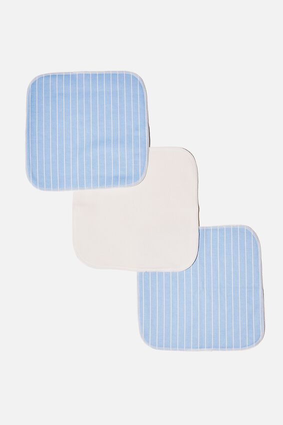 Reusable Face Washer 3Pk, LEILA STRIPE/AUTHENTIC BLUE
