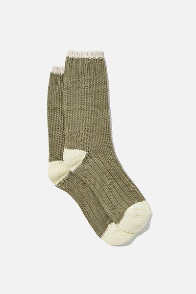 Colour Block Cosy Sock, KHAKI/LEMON