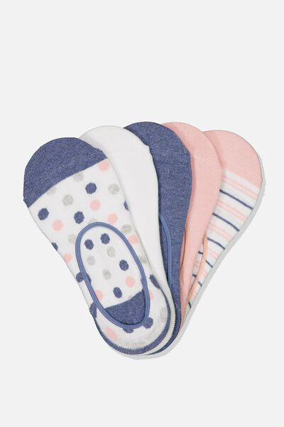5Pk Low Cut Sock, MID BLUE/PINK SPOT