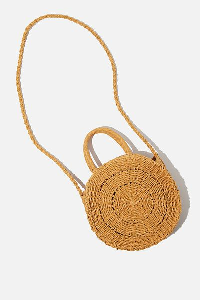 Summer Love Woven Circle Bag, MUSTARD