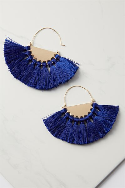 Half Hoop Fan Tassel Earring, ELECTRIC BLUE/GOLD