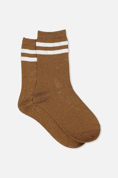 Sporty Sparkle Stripe Sock, BRONZE SPARKLE/WHITE STRIPE