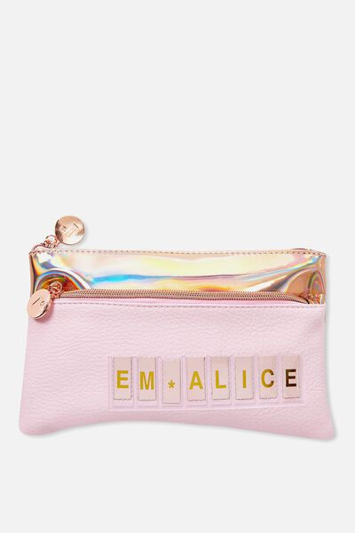 Personalised Dual Zip Cosmetic Case, PARFAIT PINK