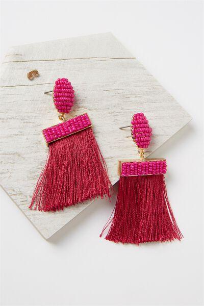 Beaded Curtain Earring, VIVACIOUS/GOLD