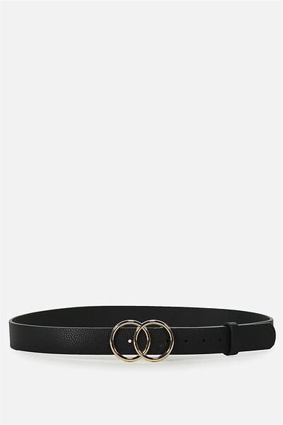 Double Circle Belt, BLACK W GOLD