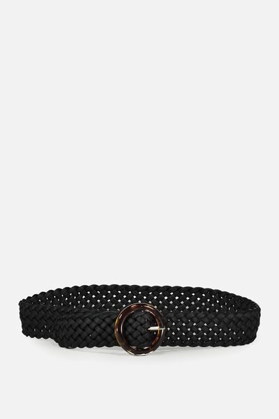 Woven Tort Buckle Belt, BLACK