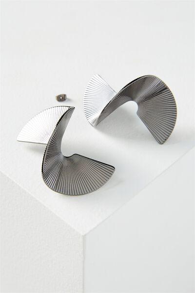 3D Spiral Earring, BLACK