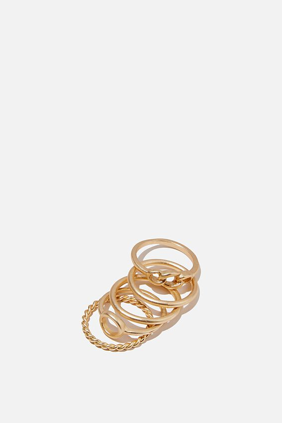 Luxe Layers Brushed Ring Set, GOLD