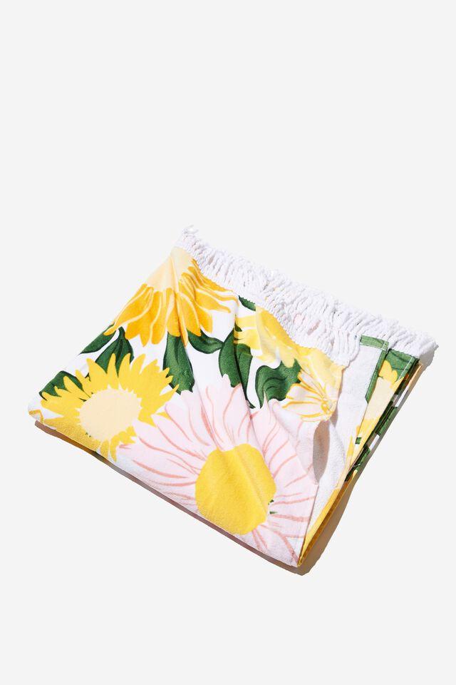 Bondi Rectangle Towel, SUNSHINE YELLOW SUNNY RETRO FLORAL