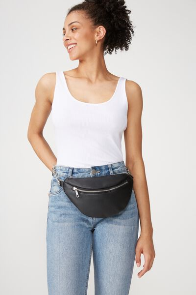 Britt Belt Bag, BLACK W/SILVER