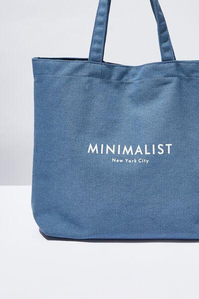 Minimalist Washed Tote, DENIM BLUE