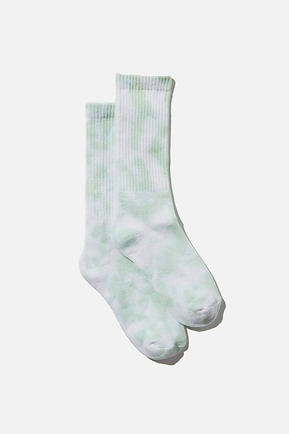 Club House Crew Sock, CELERY GREEN TIE DYE