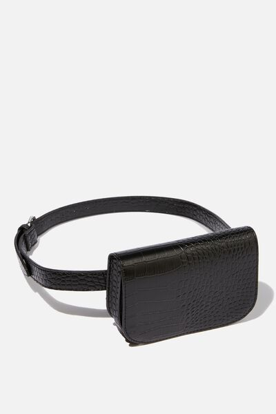 Aimee Rectangle Belt Bag, BLACK CROC PRINT