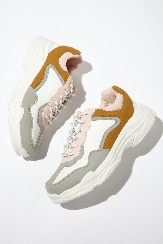 Erika Chunky Trainer, SOFT PINK COLOUR BLOCK