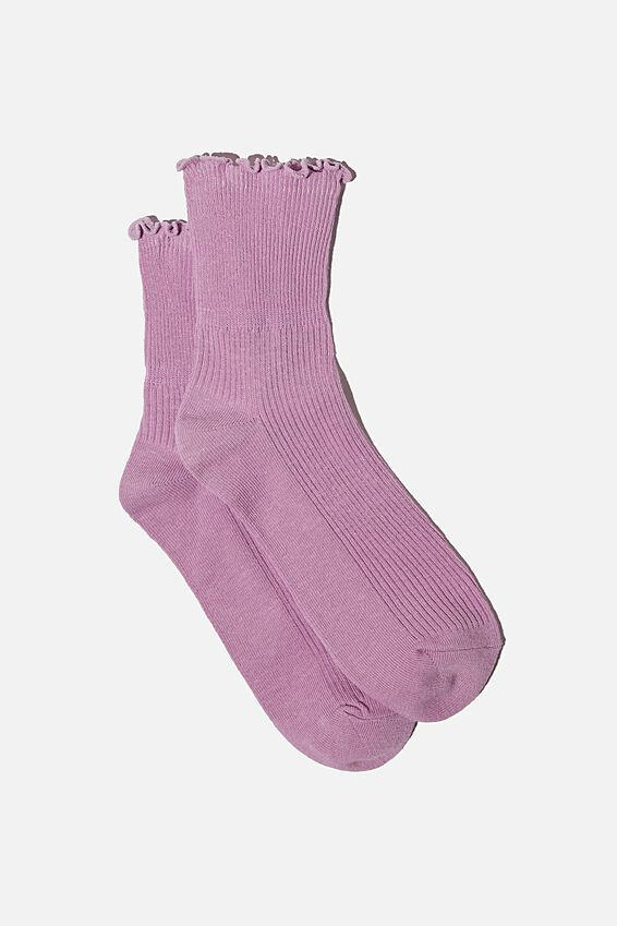 Frill Ribbed Quarter Crew Sock, FROSTY LILAC