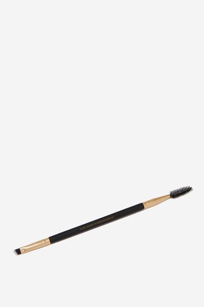 Dual Ended Eyebrow Brush, BLACK/GOLD