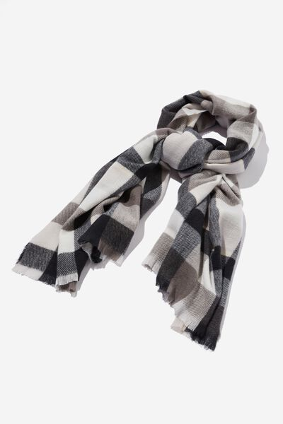 Millie Mid Weight Scarf, BLACK AND WHITE CHANTELLE CHECK