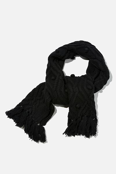 Heritage Knit Scarf, BLACK CABLE KNIT