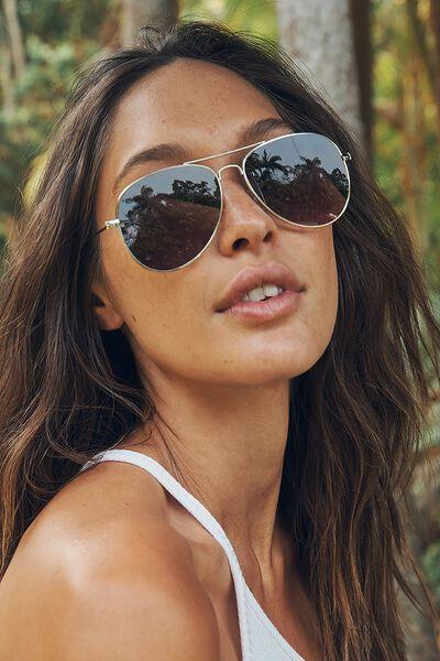 Arabella Metal Sunglasses, GOLD/GREY