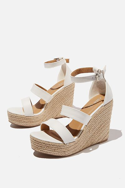 Brady Wedge Espadrille, WHITE PU