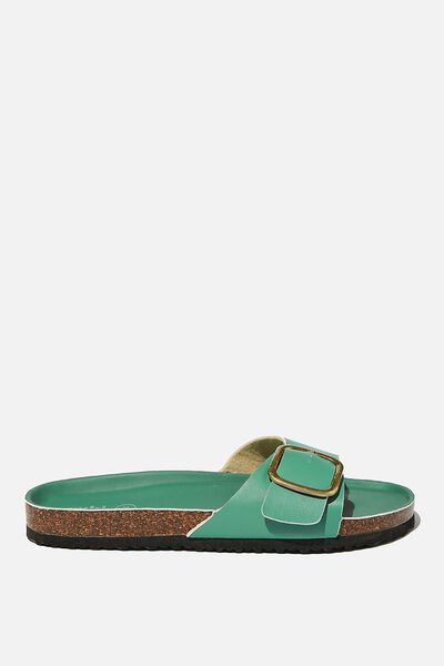 Rex Oversized Single Buckle Slide, VIVID GREEN PU