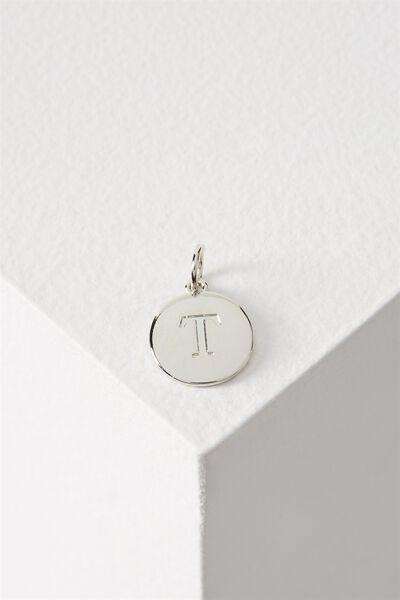 Letter Flat Pendant Charm, SILVER - T