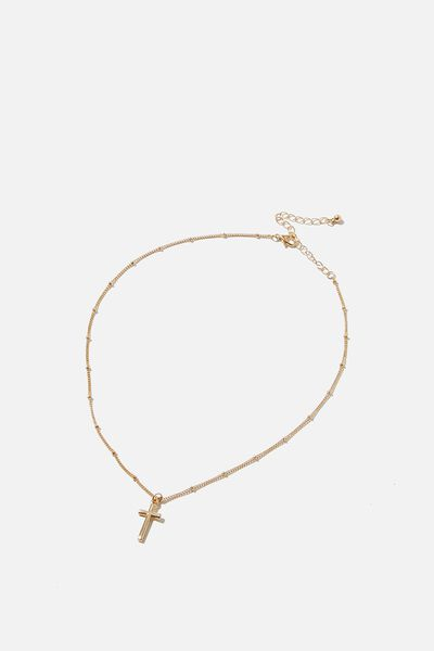 Treasures Short Pendant Necklace, GOLD CROSS PENDANT