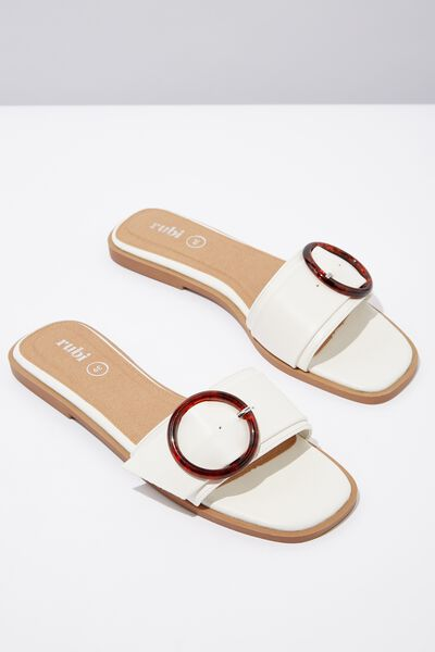Halle Buckle Slide, WHITE