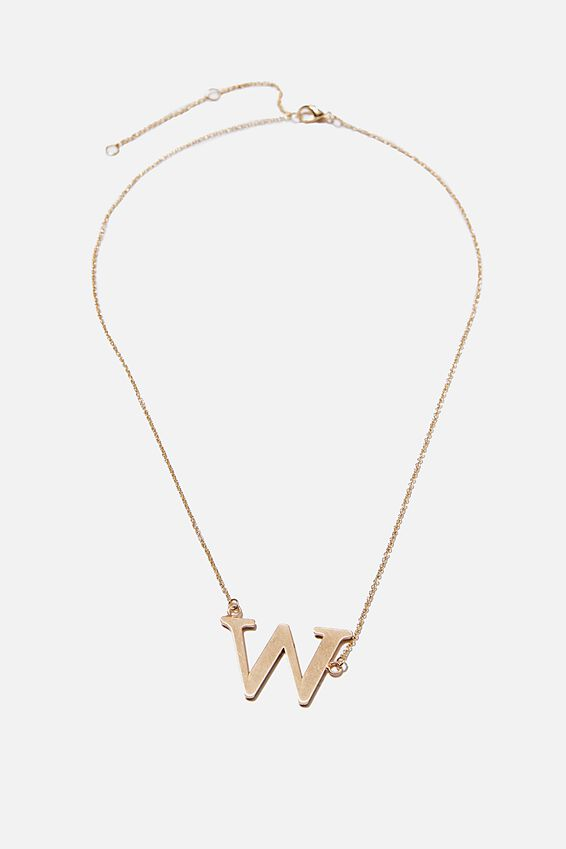 Tilted Letter Necklace, GOLD W