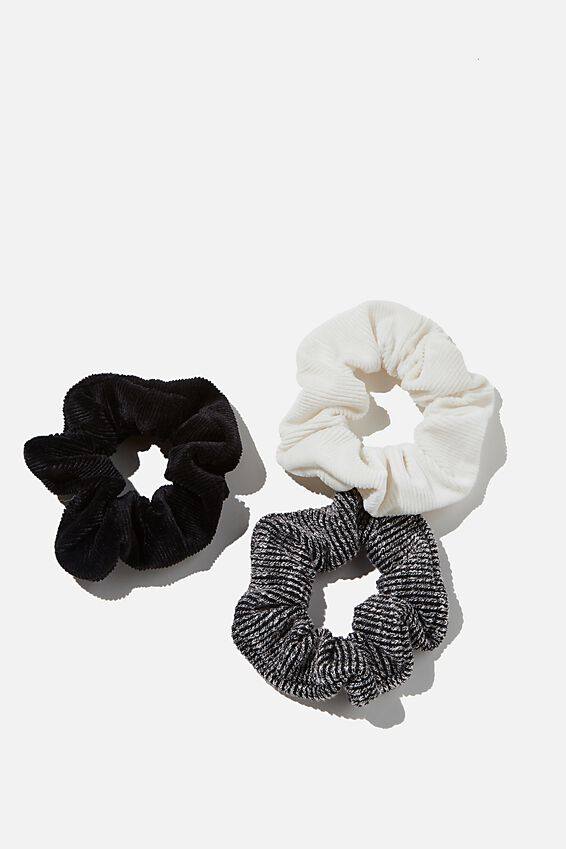 3Pk Scrunchies, BLACK INCA GOLD TRIO