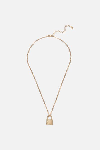 Treasures Short Pendant Necklace, GOLD PADLOCK