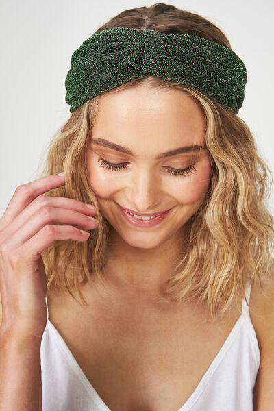 Manhattan Headband, GREEN SPARKLE STRIPE