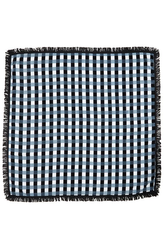 Double Up Towel, BLACK/WHITE GINGHAM
