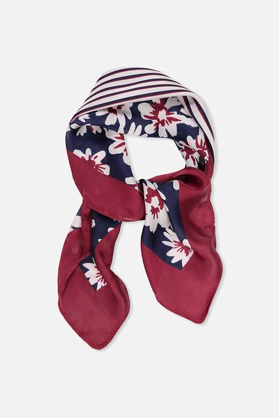 Soho Satin Scarf, RASPBERRY BLOCK FLORAL
