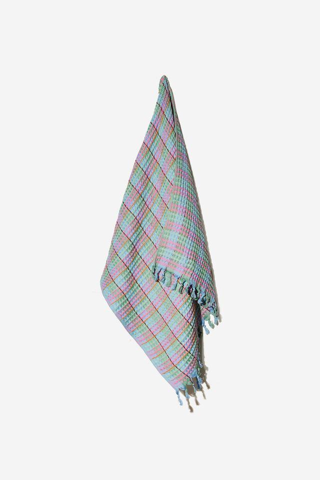 Whitehaven Lightweight Towel, SAGE MADDIE WAFFLE GINGHAM