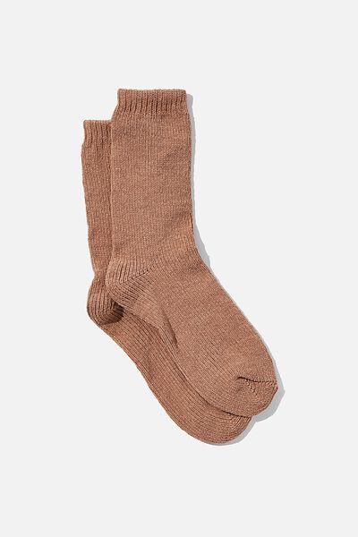 Chenille Cosy Sock, COCOA BEAN