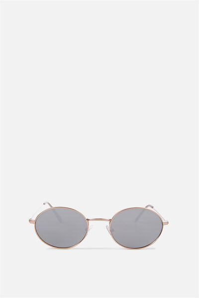 Paigey Oval Metal Sunglasses, GOLD/SILVER