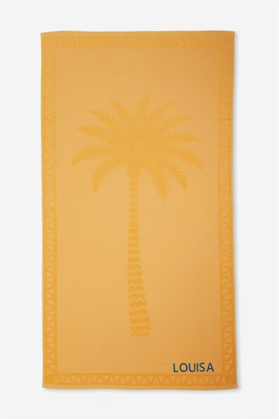 Personalised Love A Jacquard Towel, BUTTERCUP PLACEMENT PALM