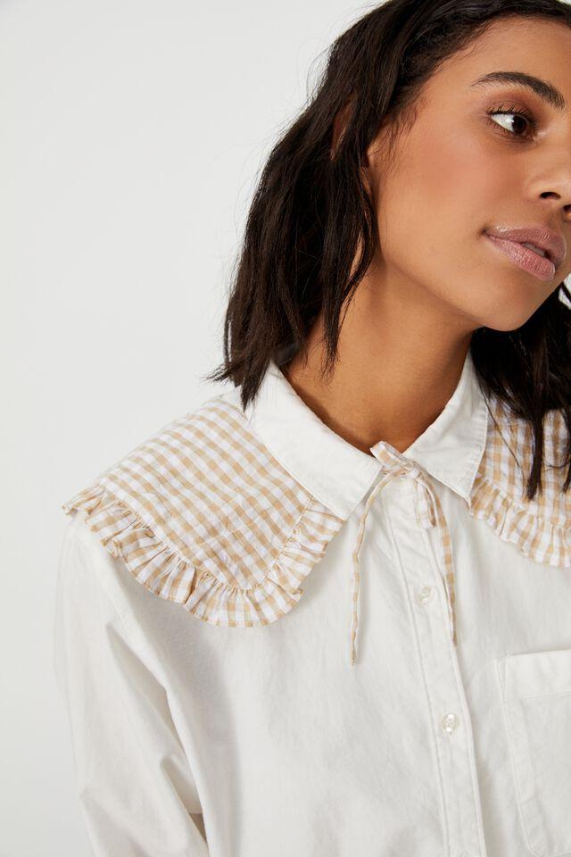 Scarlett Small Collar, NEUTRAL GINGHAM