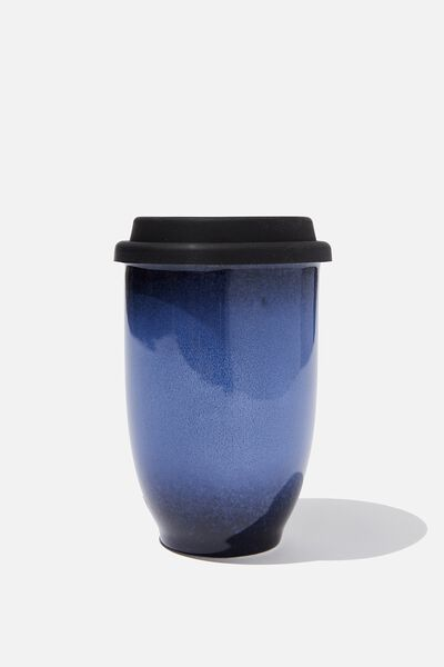 Double Walled Ceramic Travel Cup, INDIGO OMBRE