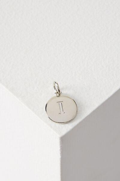 Letter Flat Pendant Charm, SILVER - I