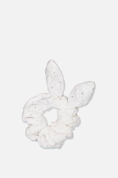 Jess Tie Scrunchie, WHITE BRODERIE