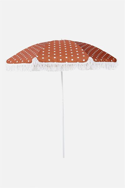 Throwin Shade Umbrella, RUST POLKA DOT