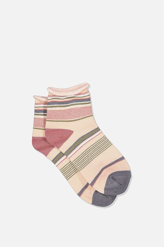 Roll Top Quarter Crew Sock, BLUSH MIX STRIPE