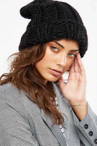 Lazy Days Rib Beanie, BLACK