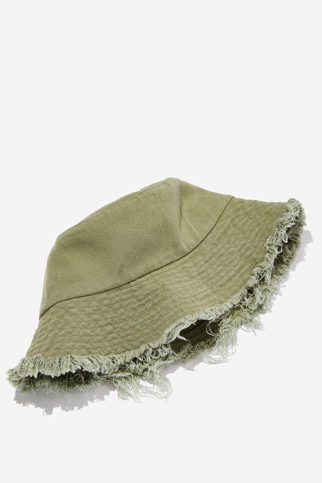 Bianca Bucket Hat, DUSTY GREEN FRAYED BRIM