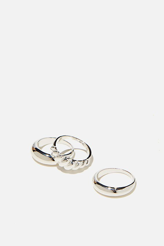 Brighter Days Ring Set, PLAIN AND TWIST SILVER