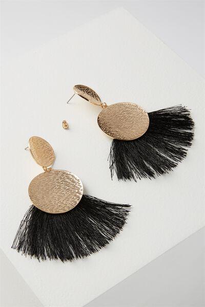 Metal Fan Tassel Earring, BLACK/GOLD